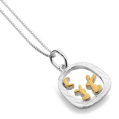 Pure Origins Sterling Silver Gold Plated Moon Gazing Rabbits Pendant Necklace
