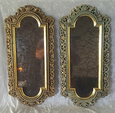 Two Vintage Smokey Mirror Metal Ornate Frame with Crackle Effect 18.75 x 9 Pair