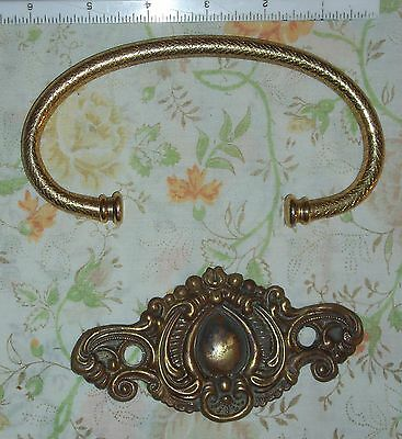 Vintage Brass Drawer Hardware - Pull Ring & Face Plate