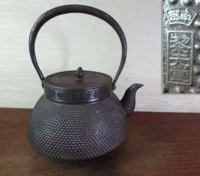 Japanese Antique KANJI old Iron Tea Kettle Tetsubin teapot Chagama 2247