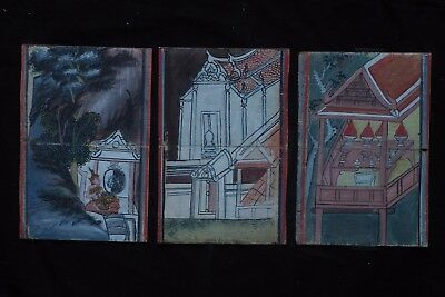Set Antique Thailand Manuscript Painting from the 19th Century on book  -004