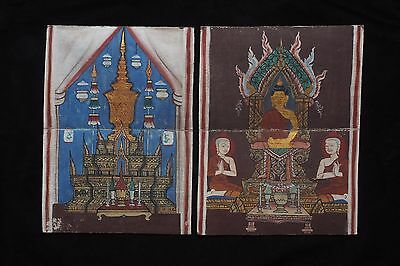 Set Antique Thailand Manuscript Painting from the 19th Century on book  -018