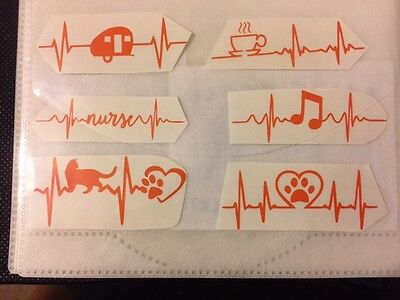 Hearbeat Vinyl Decals 6 options (Coffee/Camper/Dog/Cat/Music/RN-Size And Color