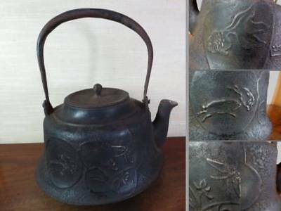 Japanese Antique KANJI old Iron Tea Kettle Tetsubin teapot Chagama 2250