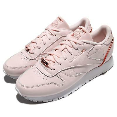 5738d133a85 Reebok CL LTHR HW Classic Soft Leather Pink White Women Shoes Sneakers  BS9880