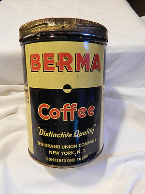 Berma Coffee One Pound Can Grand Union Company New York, N.Y. With Lid