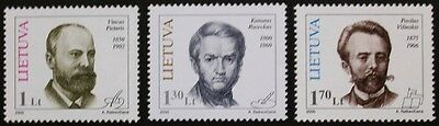 Birth anniversaries stamps, 2000, Lithuania, SG ref: 728-730, 3 stamp set, MNH