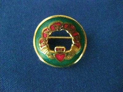 Vintage Gold Tone Signed Celtic Sea Gems Enamel Brooch Claddagh Pin Ireland #2