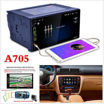 "7"" 2 DIN Car GPS Navigation Bluetooth Stereo FM Radio MP5 Player Android+Camera"