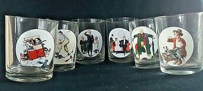 Norman Rockwell The Saturday Evening Post Collectible Tumbler Glasses Set Of 6