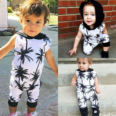 US Stock Fashion Toddler Kids Baby Boy Sleeveless Hooded Romper Jumpsuit Outfits