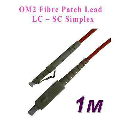1M LC - SC FIBRE OPTIC CABLE 50/125 Simplex Single mode OM2 Patch Lead New