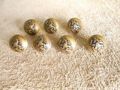 Antique Brass Lion with Sword Button Set of seven matching 14 mm nice patina