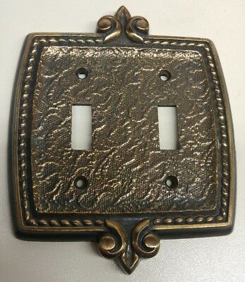 Vintage Amerock Bonaventure Brass Metal Double Toggle Two Switch Plate Cover