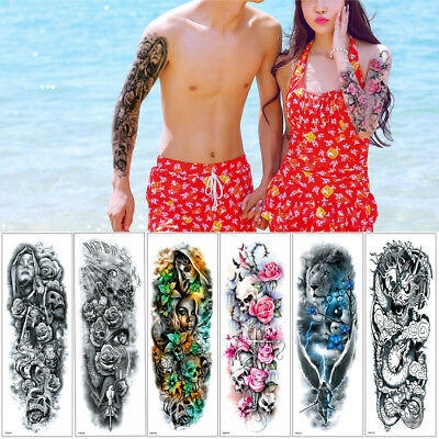 Temporary Full Arm Leg Tattoo Sticker Big Large Fake Buddha Flower Body Art Gift