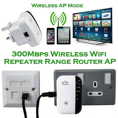 300Mbps WiFi Repeater UK Plug Wireless Router Range Extender Signal Booster WPS
