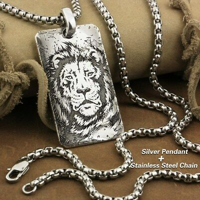 Handmade Engraved 999 Sterling Silver Tiger King Sharp Claw Punk Pendant 9X026SD