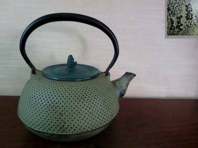 Japanese Antique KANJI old Iron Tea Kettle Tetsubin teapot Chagama 2259