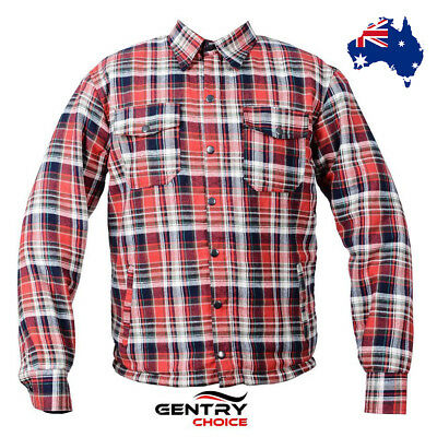 Men Motorcycle Rider Cotton Flannel Red Kevlar Shirt Full Lined With CE Armours