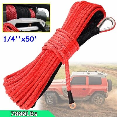 "1/4"" x 50' 7000 LBs+ Synthetic Winch Rope Line Cable RED Rock Guard ATV UTV SUV"