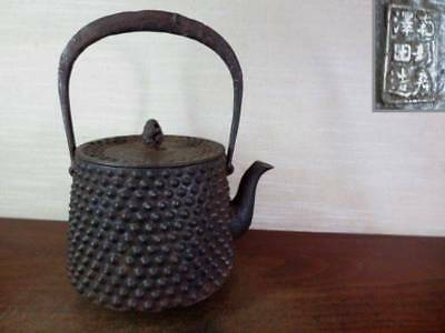 Japanese Antique KANJI old Iron Tea Kettle Tetsubin teapot Chagama 2263