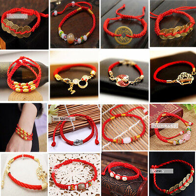 Men Women Chinese Feng Shui Red String Wealth Lucky Charms Bracelet Lover Gift