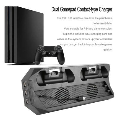 USB Dual Cooling Fans Charging Dock Vertical Stand Holder For PS4 PRO LOT OK