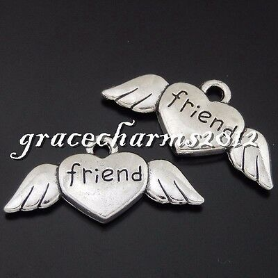 18x Vintage Silver Alloy Engraved Heart Pendants Findings Charms Crafts 50634