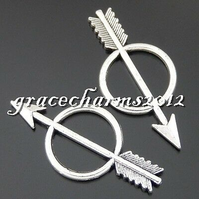 48x Vintage Silver Alloy Target for Archery Pendants Finding Crafts Charms 50452