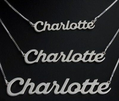 "925 Solid Silver Personalised ANY NAME Necklace Pendant with 14/16/18/20"" Chain"