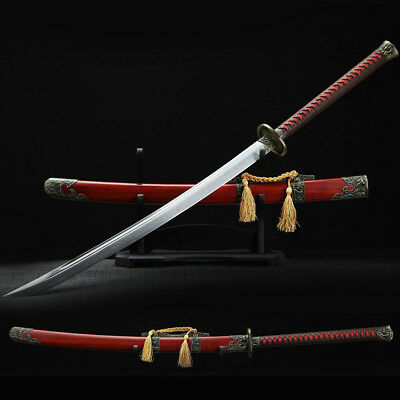 Handmade Chinese Sword Damascus blade sabre Red wood Scabbard Engraved Fittings