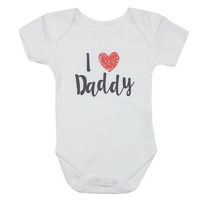 Ex Store Baby Boy Girl  I Love Daddy Heart Bodysuit Vests N/B 0/3 3/6 6/9 9/12