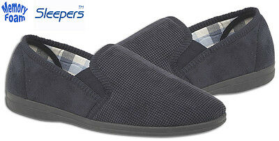 Sleepers Mens Luxury Navy Suede Slippers Comfort Memory Foam Sock Size UK 6-12
