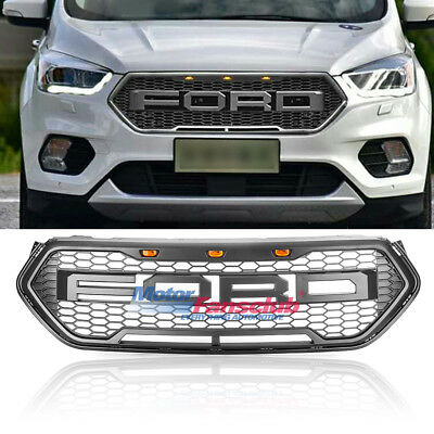 For 2017 Ford Escape Raptor Style Sport Mesh Charcoal Gray Front Bumper Grille