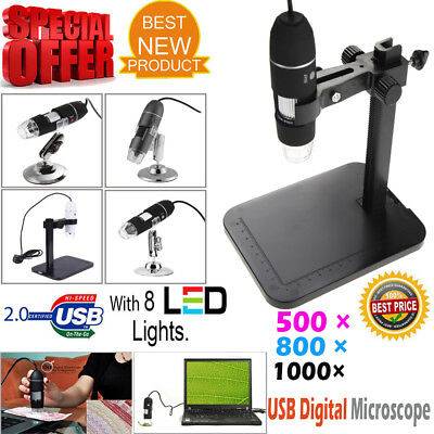 USB Microscope Endoscope 500X 800X 1000X 8LED 2MP Digital Magnifier Camera&Stand
