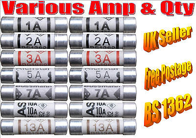 BS1362 Domestic household plug top fuses Various ampages / quantity