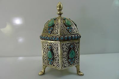 Rare Islamic ? Octagon Domed Lidded Box Decorated With Turquoise Stones