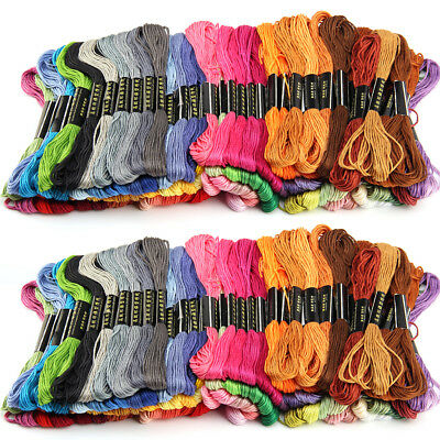 100 Cotton Skeins Coloured Embroidery Thread Mix Cross Stitch  Craft Sewing Kit