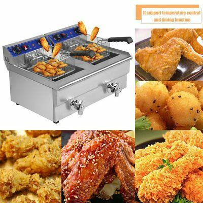 26L Commercial Deep Fryer w/ Timer and Drain Fast Food French Frys Electric QN