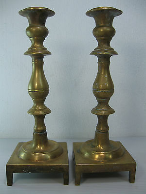 An Antique Pair Of Beautiful,solid Bronze/brass Candle Stick Holders, On 4 Legs