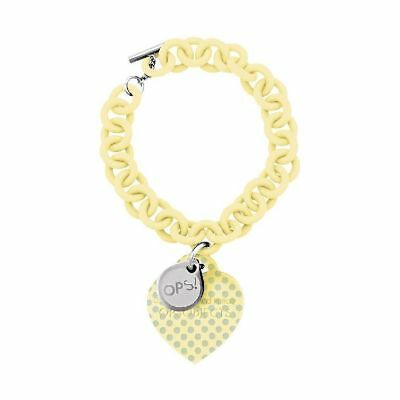 Bracciale Donna Ops Objects Love Opsbr-91 Silicone Giallo Pendente Cuore Pois