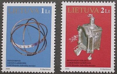 Exhibits in Klaipeda clock museum stamps, 2000, Lithuania, SG ref: 731 & 732 MNH