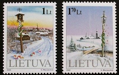 Christmas stamps, 2000, village, church, Lithuania, SG ref: 745 & 746, MNH