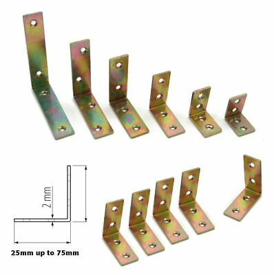 STEEL from 25mm to 75mm Corner L Shape Brace Angle Bracket Packs