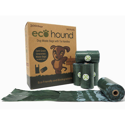 Ecohound 300 Dog Waste Bags On A Roll With Tie Handles Poo Bags Dark Green