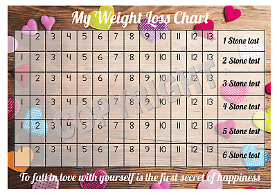 Weight Loss Chart - 6 stone - 1 Sheet of stickers - Coloured Hearts - Slimming