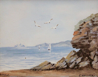 A Beautiful Antique Miniature Seascape, Poldark, Cornwall, Signed E Whitman