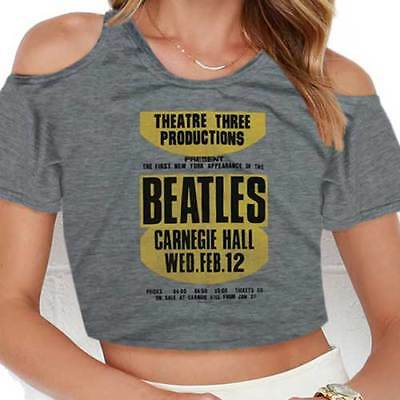 NEW The Beatles Ladies Fashion Tee: Carnegie Hall with Cropped Styling and Cut-o