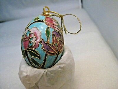 """Cloisonne Champleve Floral Egg Ornament -2"""" Tall"""