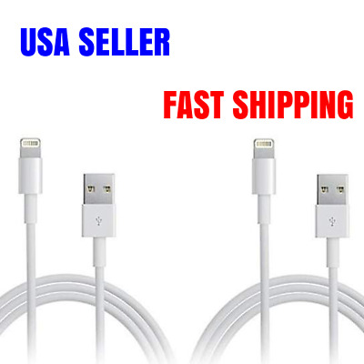 2 Pack 6ft Charger 8 Pin Lightning USB Data Sync Charging Cable iPhone 6s Plus